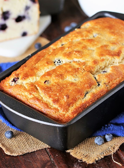 Loaf of Buttermilk Blueberry Bread in Pan Image