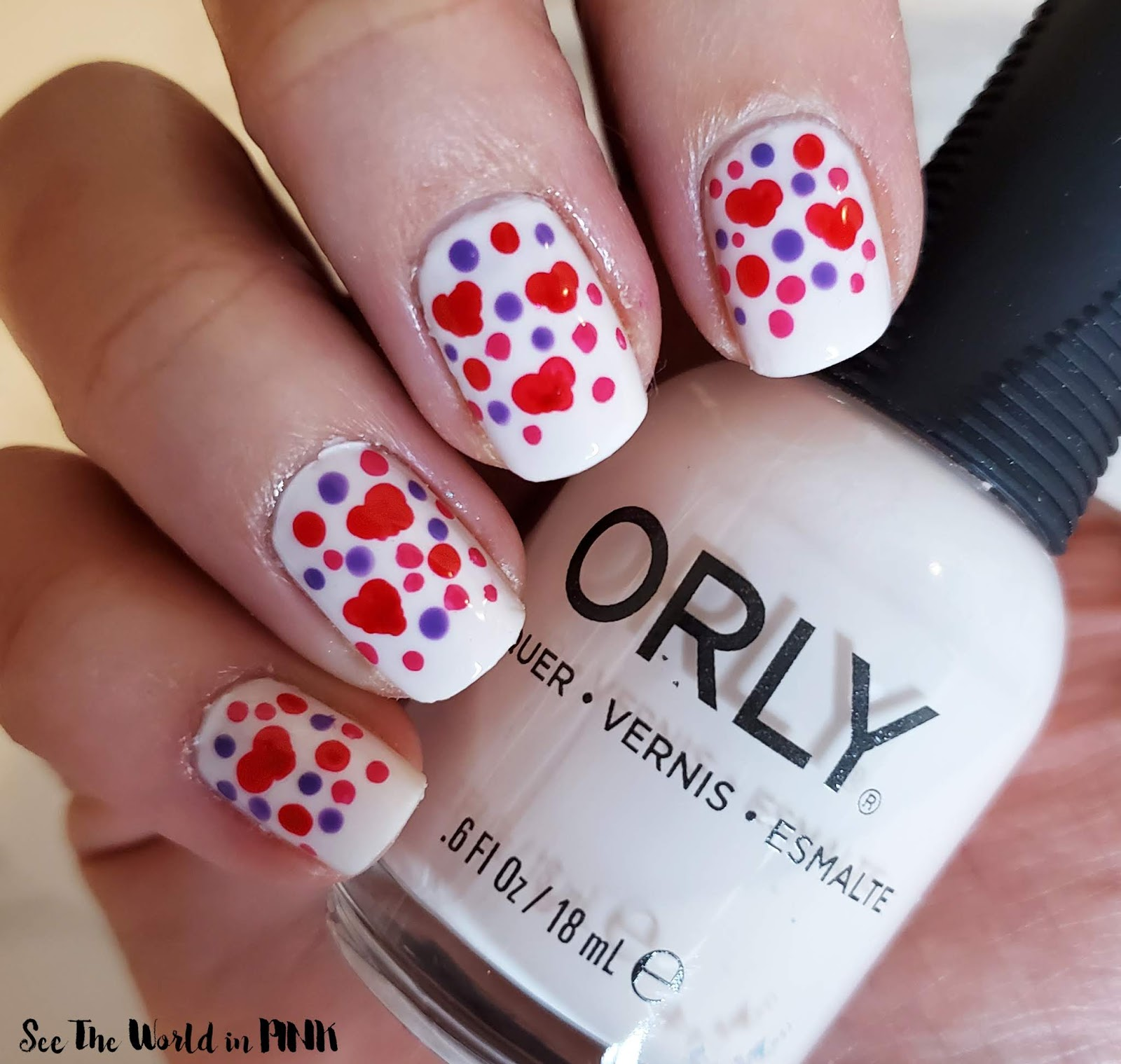 Manicure Monday - Valentine's Dotticure with Hearts