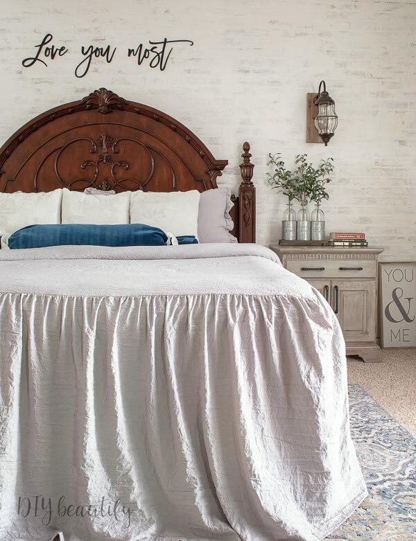 elegant, rustic, cozy master bedroom