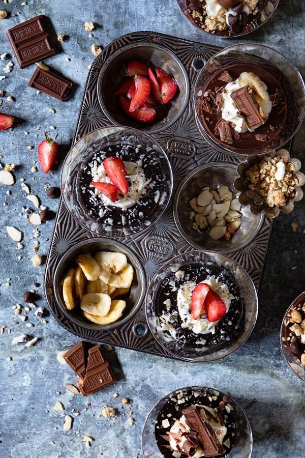 Strawberry Tuxedo & Almond Crunch Pudding Parfaits