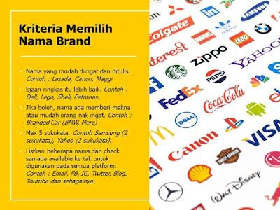 Kriteria Memilih Nama Brand
