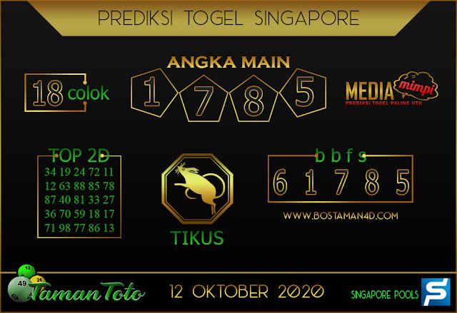 Prediksi Togel SINGAPORE TAMAN TOTO 12 OKTOBER 2020