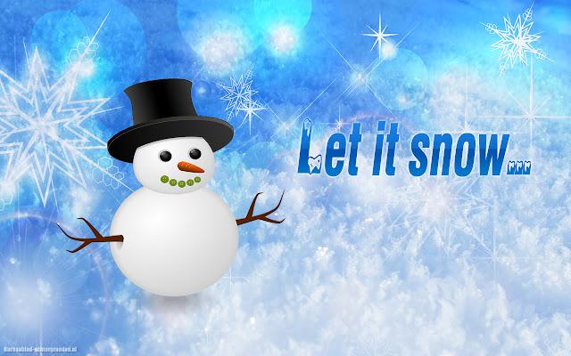 Sneeuwpop, sneeuw en de tekst let it snow