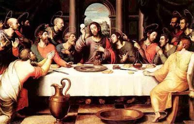 Imagen de la Ultima cena de Jesús con sus apóstoles a color