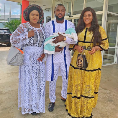 Photos Of Toyin Abraham And Kolawole Ajeyemi In Church With Their Child