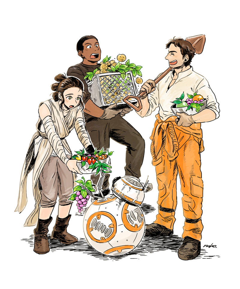 Rey, Finn, Poe Dameron oraz BB-8 z Gwiezdnych Wojen jako postacie z anime