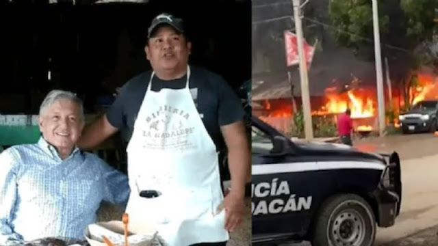 Asesinan a dueño y queman restaurante donde AMLO comió, tunden al presidente