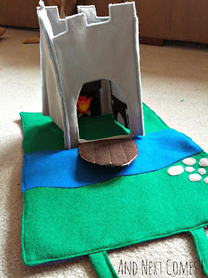A homemade felt castle play tote from And Next Comes L