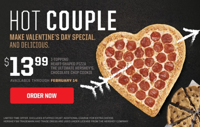 The cute 'za costs about $, although prices may vary from store to store. If you're feeling extra romantic, you can opt for Pizza Hut's Valentine's Bundle, which includes the lovey-dovey pizza.