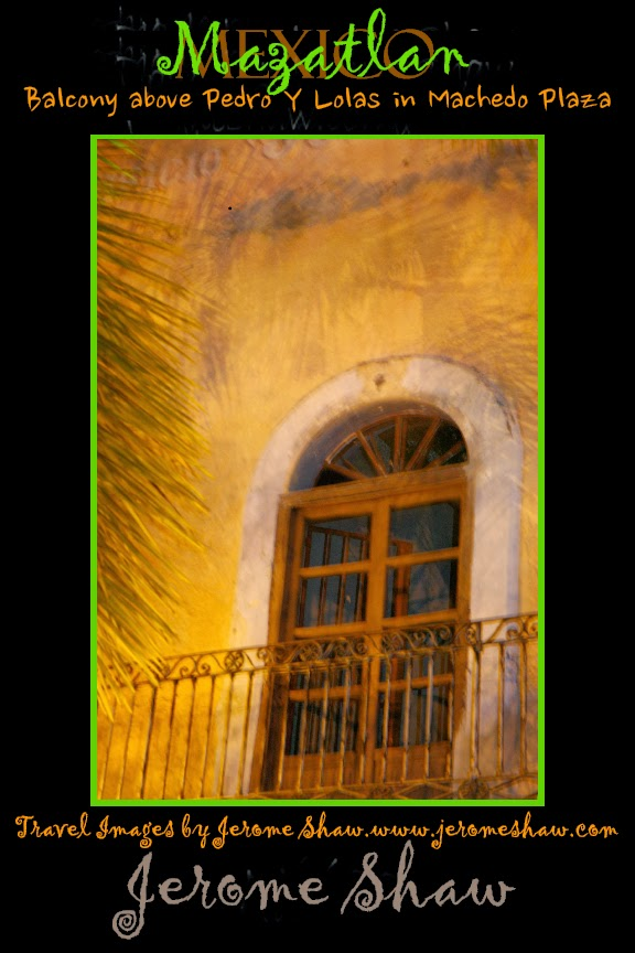 Soft shadows of the palm fronds on the balcony above Pedro y Lola in Machado  Square. Carnival Mazatlan, Mexico.. Photo: Jerome Shaw for TravelBoldly.com