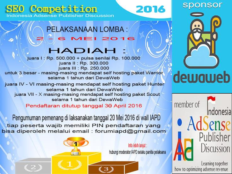 Banner Kompetisi SEO di forum IAPD