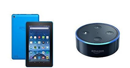 Fire Tablet 7 Display Wi-Fi 8 GB - Includes Special Offers Blue and All-New Echo Dot