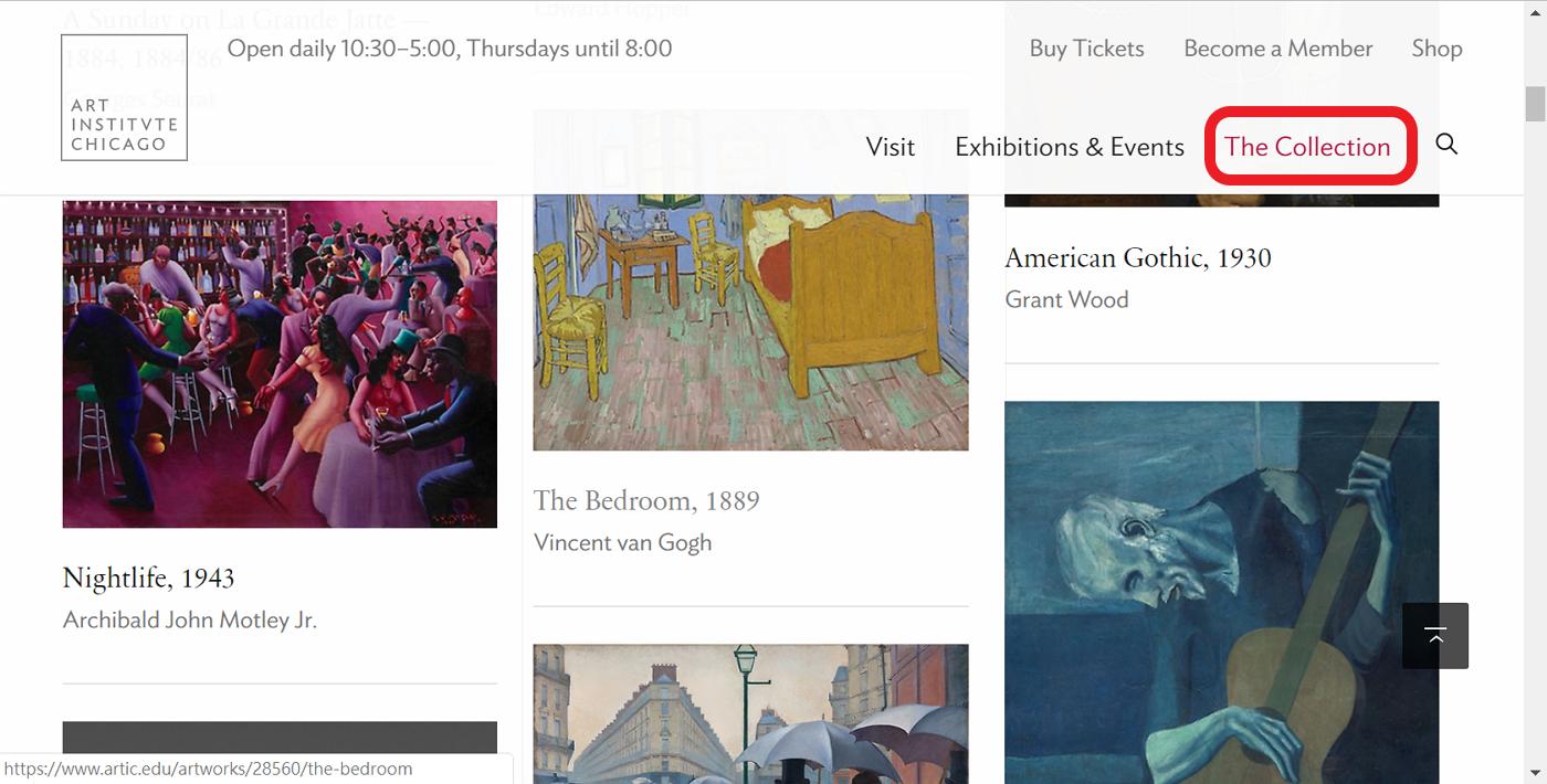 芝加哥美術館的名畫、藝術品高畫質數位圖像