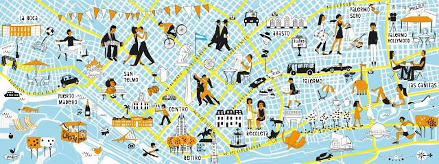 mapa turistico azul