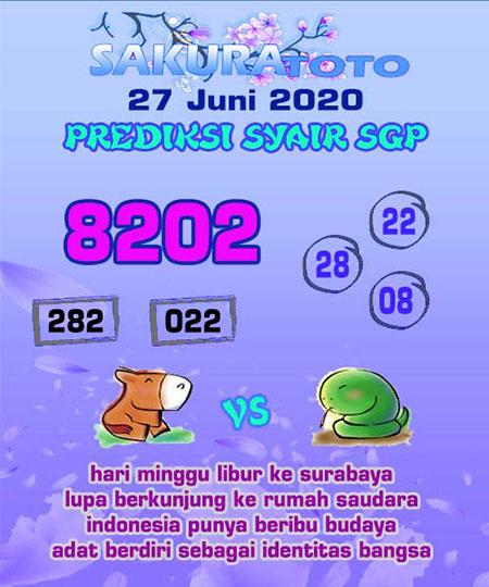 Prediksi Togel Singapura Sakuratoto Sabtu 27 Juni 2020
