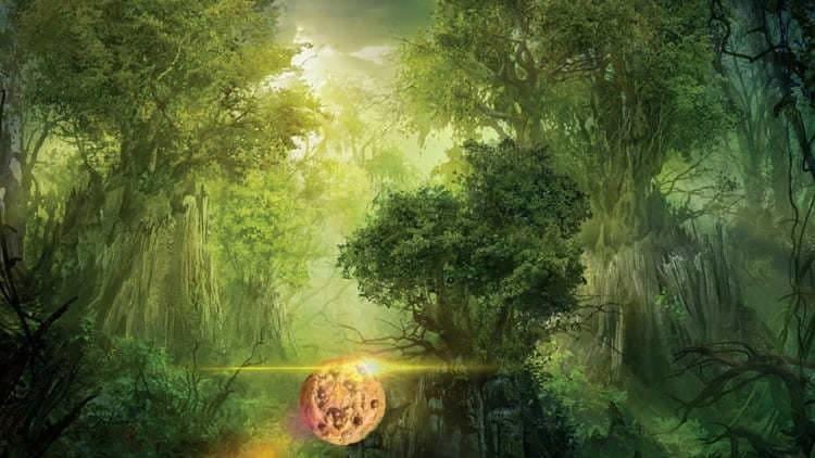 Uma floresta densa com alguns raios de sol adentrando-a e um cookie ao centro