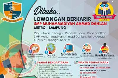 Lowongan Kerja Guru dan Staff SMP Muhammadiyah Ahmad Dahlan Metro
