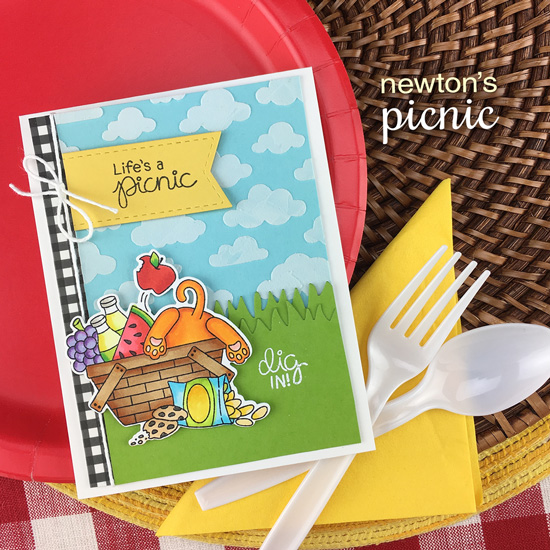 Life's a Picnic Cat Card by Jennifer Jackson | Newton's Picnic Stamp Set by Newton's Nook Designs #newtonsnook #handmade