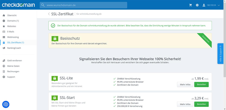SSL-Zertifikat bei neuer Domain bestellen