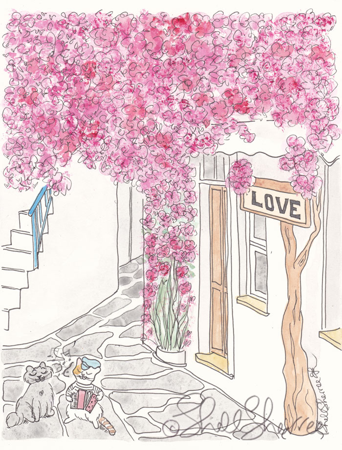 Cats Ella and Pip in Greece Serenade illustration © Shell Sherree all rights reserved
