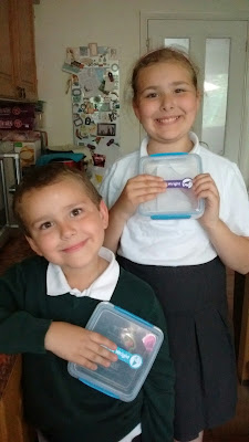 Top Ender and Big Boy with their new lunch boxes after a week of use and washing