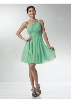 Corte A Un Hombro Corto/Mini Gasa Vestidos de Graduación/Vestidos de Cóctel #SP1212