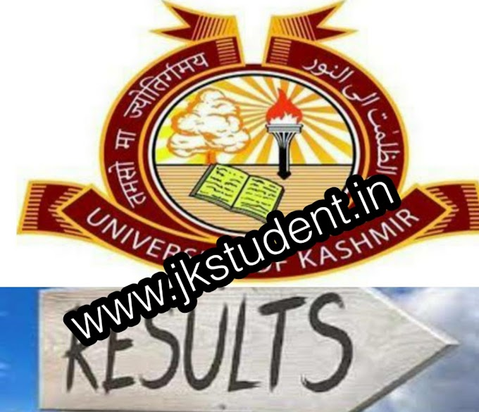 KASHMIR UNIVERSITY | Declares Following Results Of 1st, 2nd , 3rd, 4th Semester