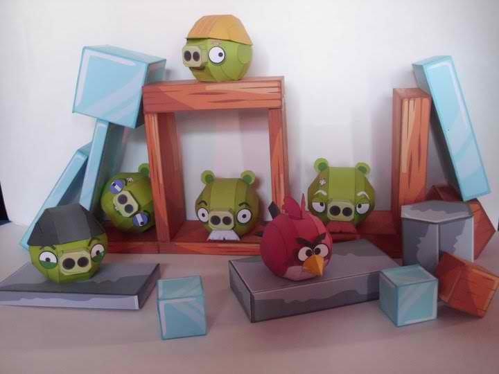 Angry Birds Papercraft Bricks