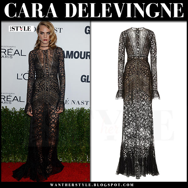 Cara Delevingne in sheer black lace gown elie saab what she wore red carpet