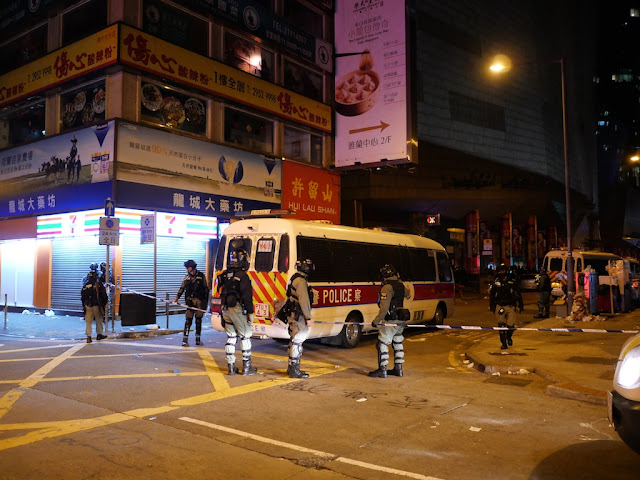 police blocking Portland Street in Mong Kok, Hong Kong