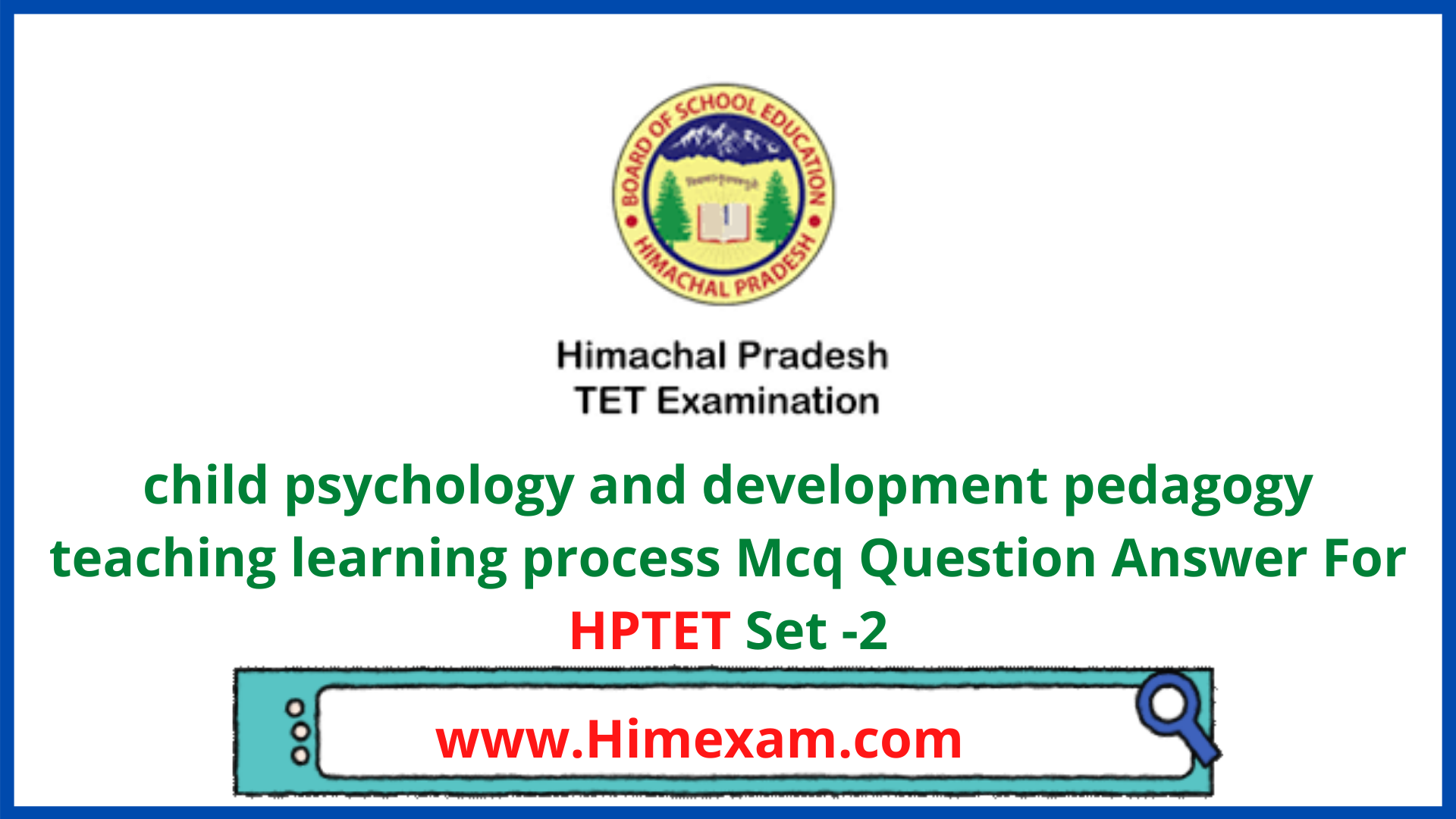 child psychology and development pedagogy teaching learning process Mcq Question Answer For HPTET Set -2