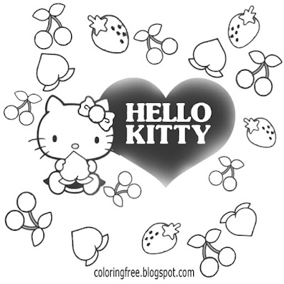 Cute Hello kitty coloring love heart sheets pretty cherry and strawberry printable for teenage girls