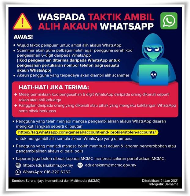 Waspada taktik ambil alih akaun Whatsapp