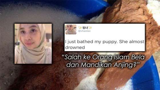 Gadis Melayu Bela dan Mandikan Anjing Cetus Kontroversi