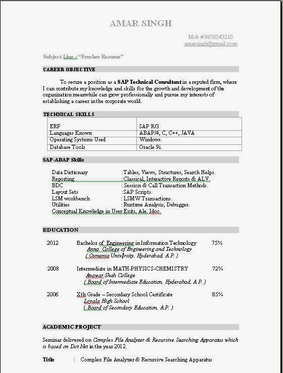 Resume Templates - sap abap resume sample
