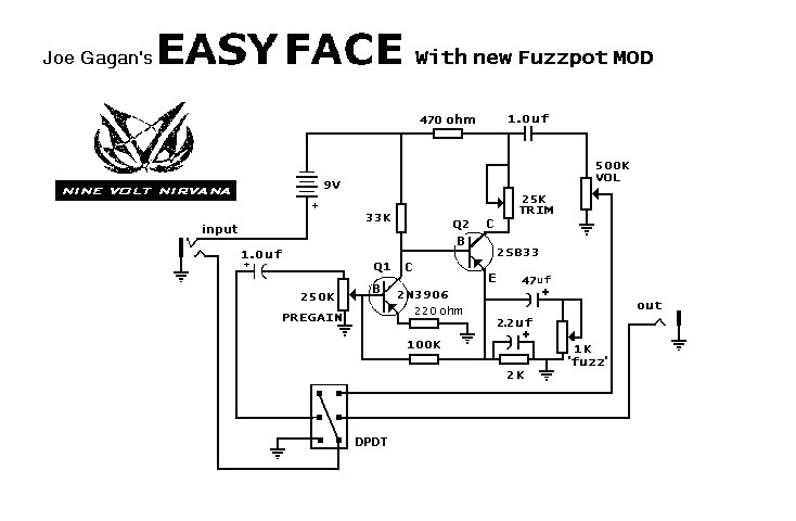 Fuzz Face Schematic on simple tube amp schematic, ts9 schematic, super fuzz schematic, compressor schematic, distortion schematic, colorsound overdriver schematic, marshall schematic, wah schematic, tube screamer schematic, 3 pole double throw switch schematic, tube driver schematic, tremolo schematic, overdrive schematic, harmonic percolator schematic, muff fuzz schematic, simple fuzz box schematic, univibe schematic, fuzz pedal schematic, solar charge controller schematic, mutron iii schematic,