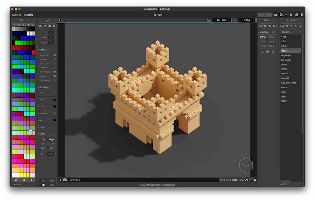 Voxel model rendered using the Lego shape