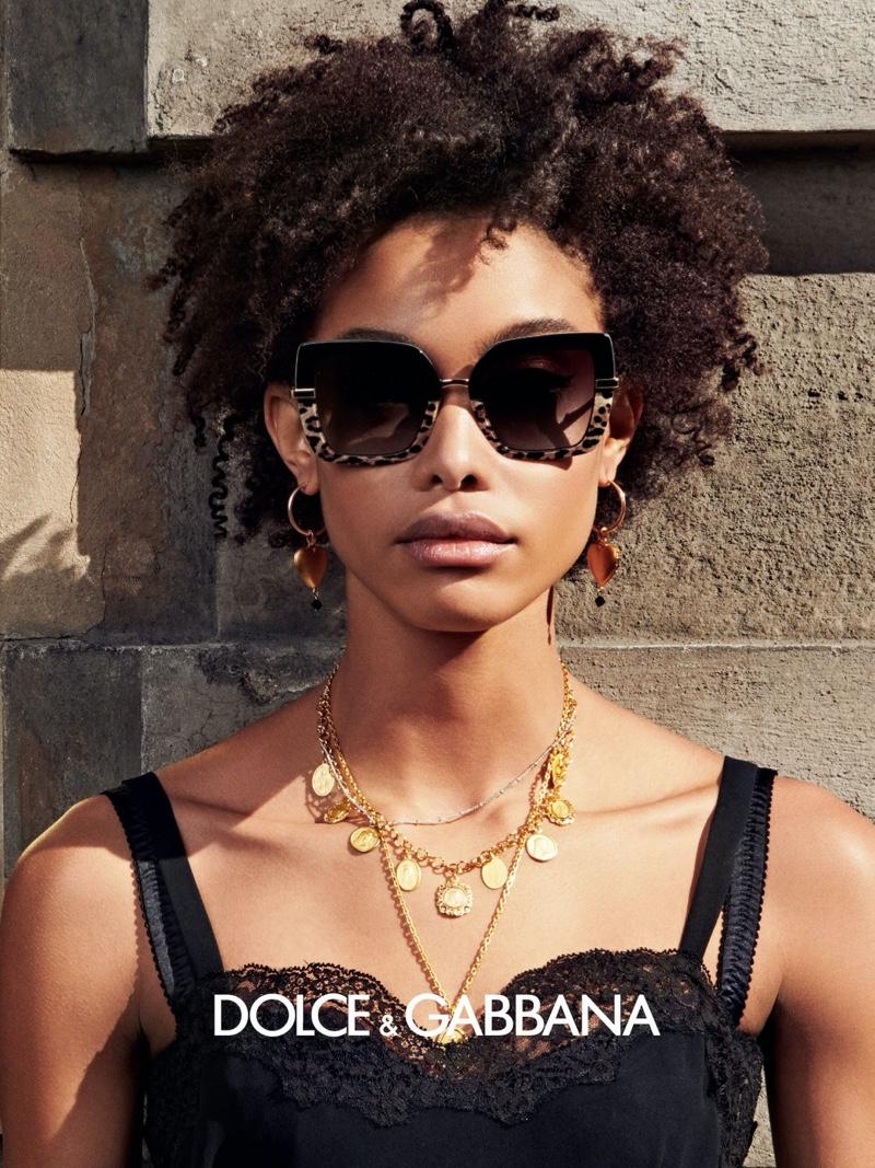 Samile Bermannelli appears in Dolce & Gabbana eyewear fall-winter 2020 campaign.