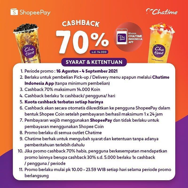 CHATIME Promo Cashback 70% – Khusus Transaksi pakai Shopeepay 4