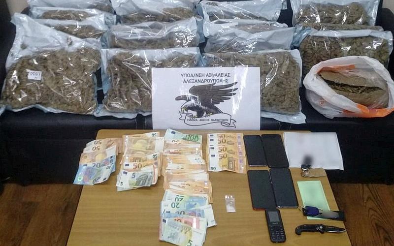 Αλεξανδρούπολη: Συνελήφθησαν 4 άτομα που μετέφεραν 16 κιλά ακατέργαστης κάνναβης
