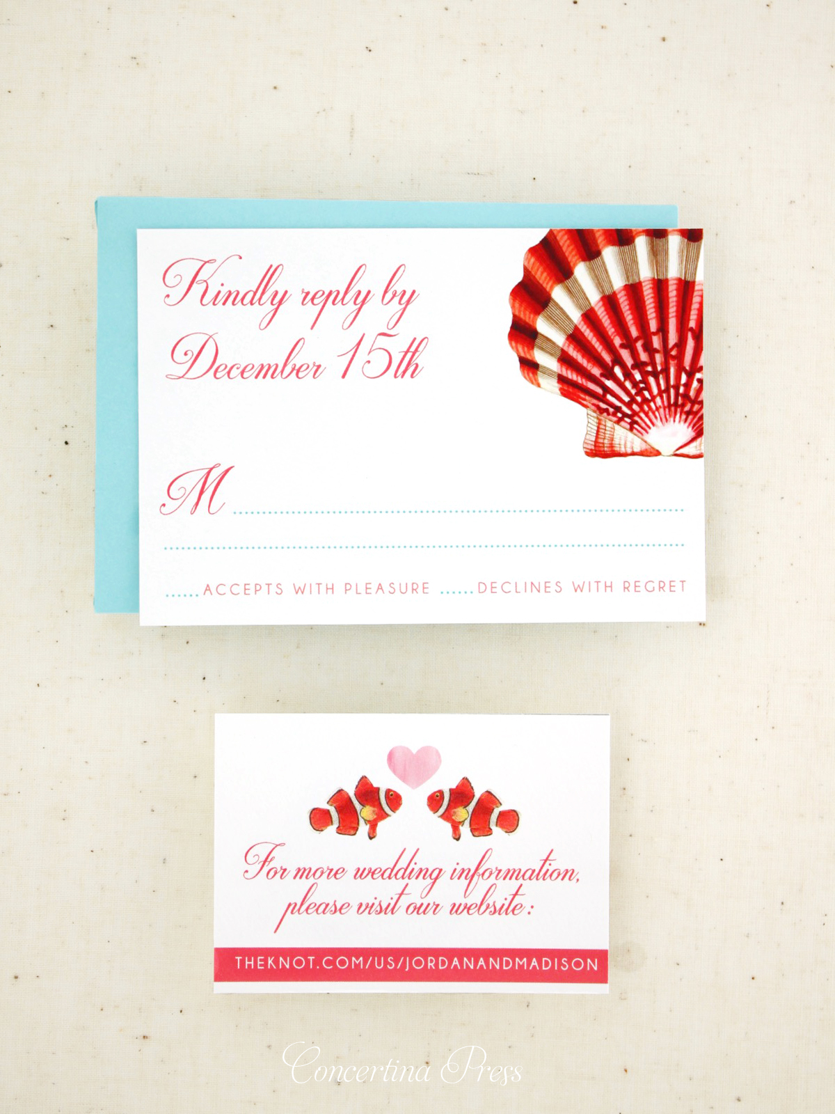 Clownfish website card and Scallop Shell RSVP card from Concertina Press
