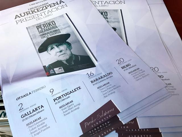 Carteles de la presentación del libro Periko Solabarria, conversaciones con la juventud