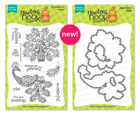 Beautiful Plumage | Peacock Stamp Set by Newton's Nook Designs #newtonsnook