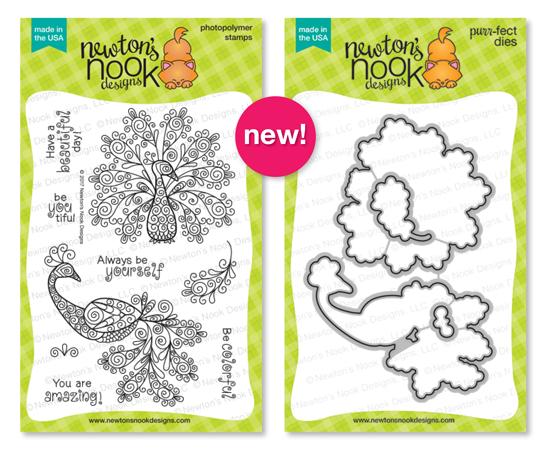 Beautiful Plumage | Peacock Stamp Set by Newton's Nook Designs #newtonsnook