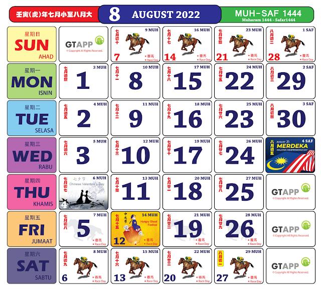 Kalender Ogos 2022