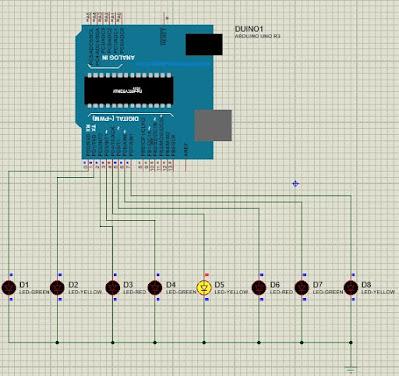 Animasi 8 Led Bergeser Ke Kanan Menggunakan Arduino Uno