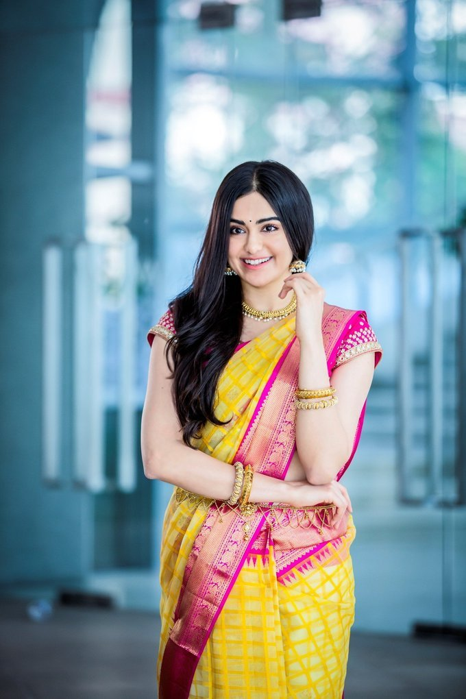 Adah Sharma Cute Photoshoot During Launch Of Saree Niketan