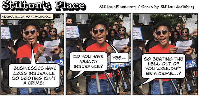 stilton's place, stilton, political, humor, conservative, cartoons, jokes, hope n' change, BLM, Chicago, Looting, Reparations, Insurance