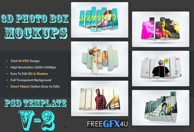 3D Photo Box Mockups PSD Template v2