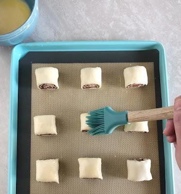 Nutella & Pecan Puff Pastry Swirls cut